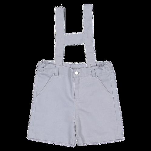 Greyish blue linen shorts with straps /Calções linho azul acinzentado peitilho