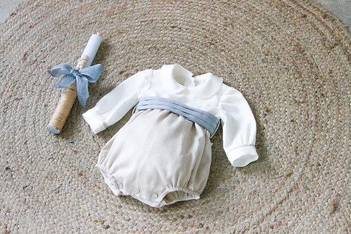 Baby round neck romper white&beige/Fofo gola redonda branco e bege