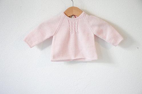 Pink Baby wool cardigan / Camisola bebe cr lã torçidos