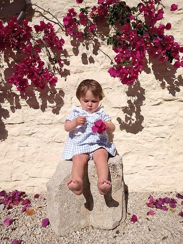 Blue vichy with embroidery dress/ Vestido de bebe vichy azul