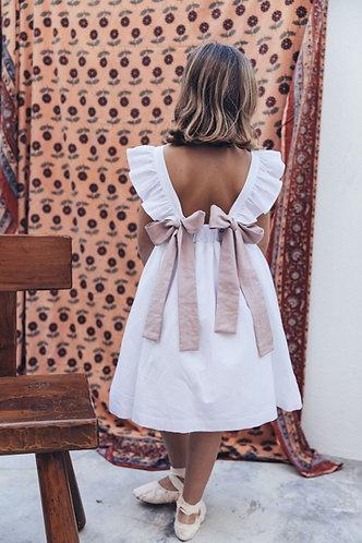 White dress elastic and frill/Vestido brando elástico e folho