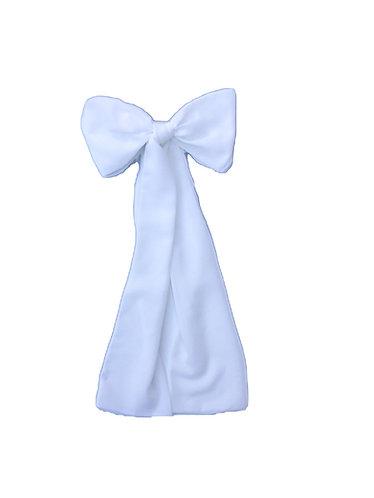 White Long hair bow/Laço de cabelo comprido branco