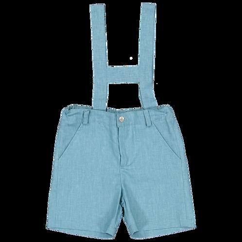 Emerald linen shorts with straps/ Calões linho esmeralda com peitilho