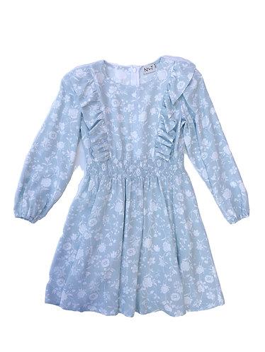 Floral blue dress with long sleeve/ Vestido floral mamga comprida