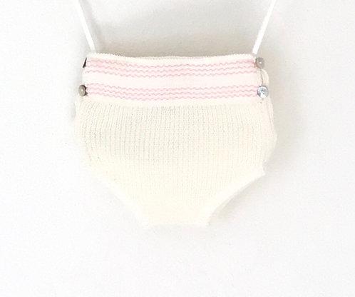 Embroidery pink nappy cover / tapa fraldas com bordado cr