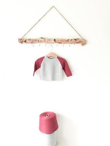 Grey/darkpink wool jumper/ Camsola lã cr/cinz