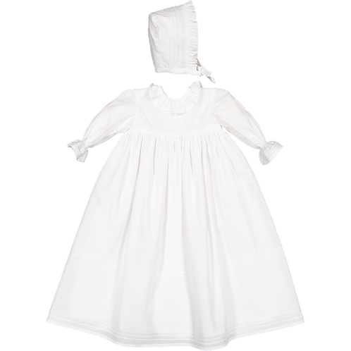 Pack ( 1 of each size) Long Batism dress with cap