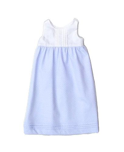 Blue spots baby jersery long dress /Cueiro Traçado malha algodão pintas azul