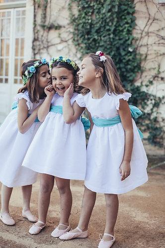 White linen dress back V/ Vestido Linho branco com V nas costas