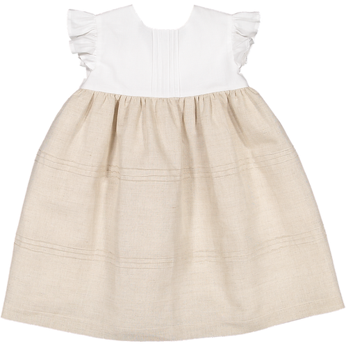Pack ( 1 of each size) White&beige dress with ribs