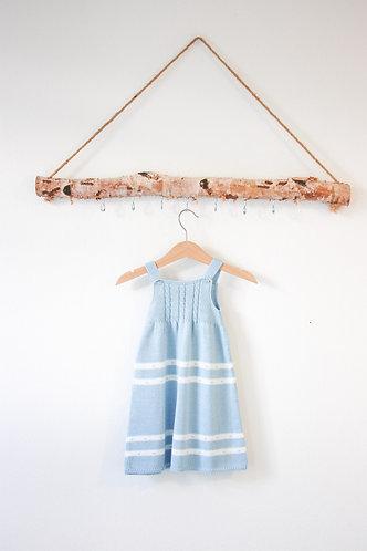 Blue Baby wool long dress white spots/ Cueiro bebe lã azul bolas per