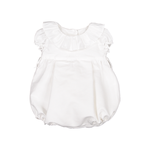 Pack ( 1 of each size)  White linen romper with frill