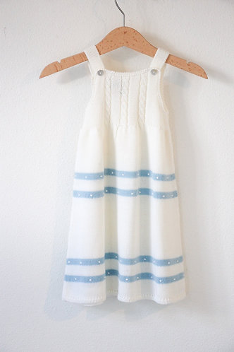 Cream Baby wool long dress blue spots/ Cueiro bebe lã per bolas blue