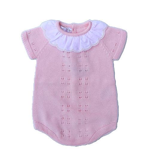 Pink cotton romper embroidery Colar / Fofo malha cor de rosa gola bordado