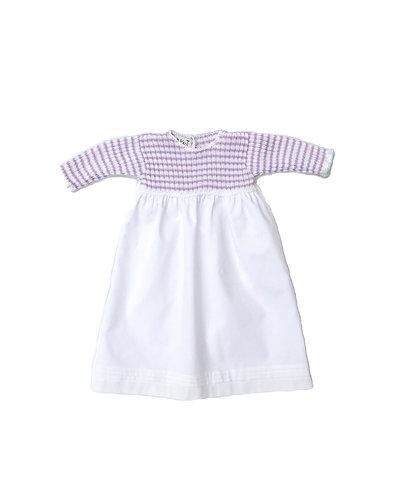 Lavanda stripes baby cotton long dress/ Cueiro malha algodão com riscas lavanda