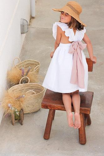White linen dress with crossed strap/ Vestido linho branco com alças cruzadas