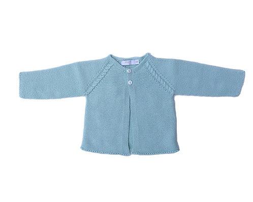 Light green cotton baby cardigan / Casaco de bebe de algodão verde água
