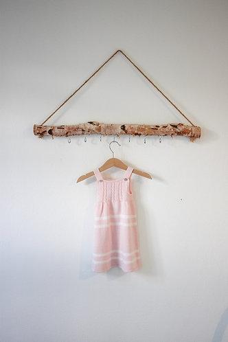 Pink Baby wool long dress white spots/ Cueiro bebe lã cr bolas per