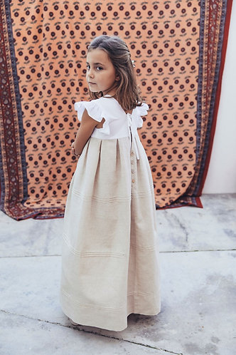 White&beige long dress with ribs/ Vestido branco&bege comprido com nervuras