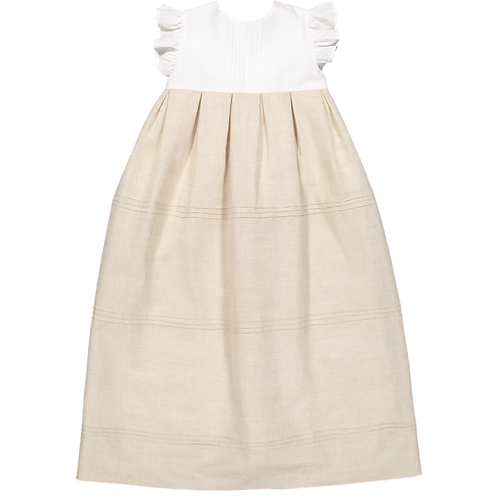 Pack ( 1 of each size) White&beige long dress with ribs