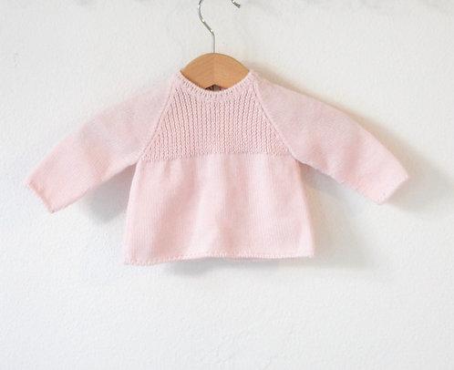 Pink Baby wool cardigan raglan/ Camisola bebe lã cr raglan