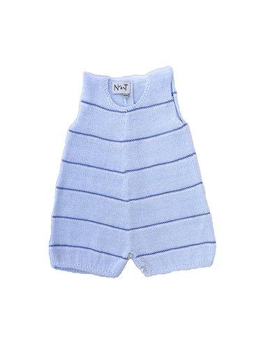 Cotton light blue baby jumpsuit strips/ Macaco az claro algodão bebe às riscas
