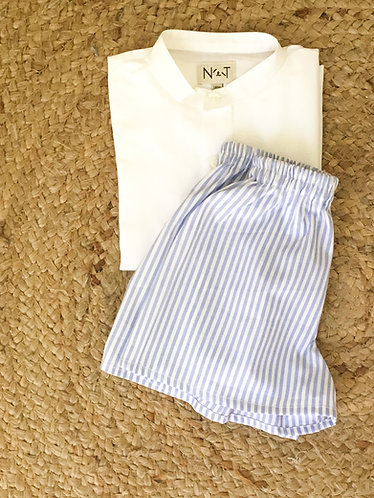 Pijama de manga curta azul
