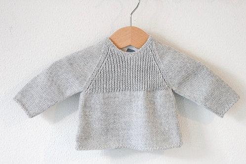 Grey Baby wool cardigan raglan/ Camisola bebe lã cinz raglan