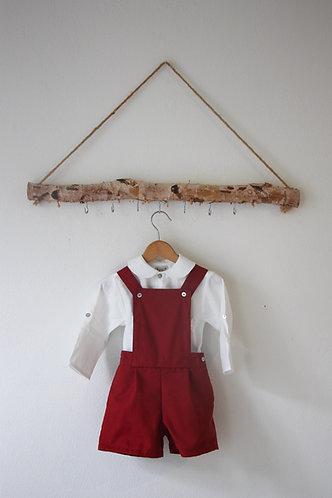 Burgundy shorts with straps/ Calções cor de vinho com peitilho