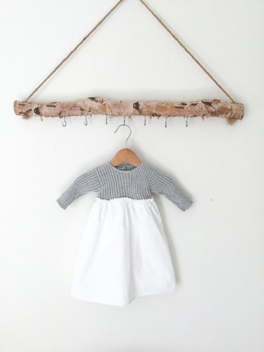 Grey baby long dress with wool /Cueiro corpo de lã cinz