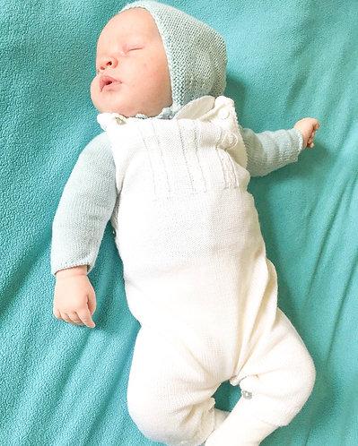 Cream Baby Wool overalls/Jardineiras lã bebe perola