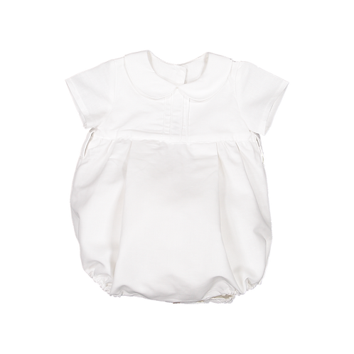 Pack ( 1 of each size)  White linen romper with round collar