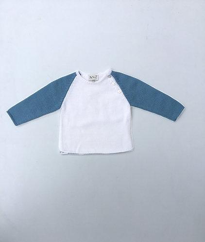 Pearl/darkblue wool jumper/ Camisola lã pérola/azul forte