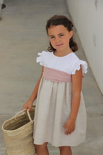 White&beige dress with ribs/ Vestido branco&bege com nervuras