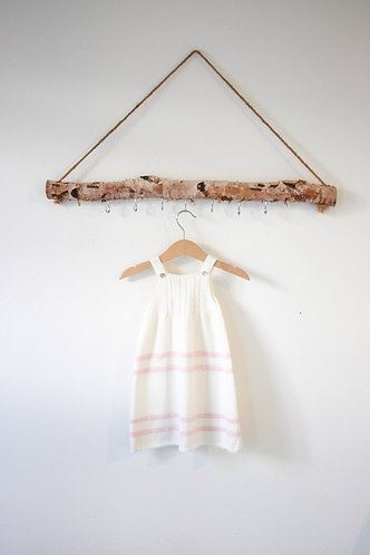 Cream Baby wool long dress pink spots/ Cueiro bebe lã per bolas cr