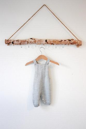 Grey Baby Wool overalls/Jardineiras lã bebe cinz