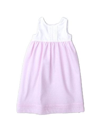Pink spots baby jersery long dress /Cueiro Traçado malha algodão pintas c. rosa