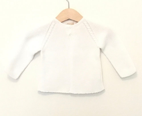 White Baby cotton cardigan / casaco algodão branco bebé