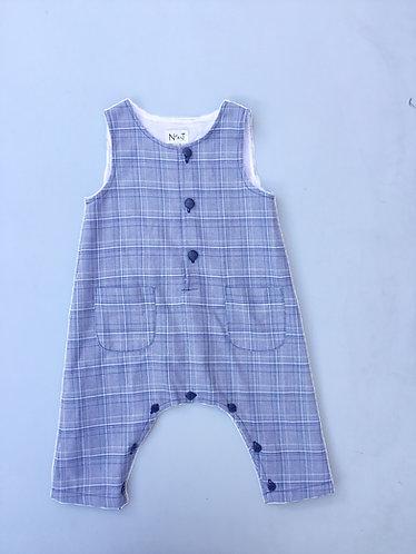 Blue&grey baby tartan overalls/ Jardineiras escocês azul e cinzento