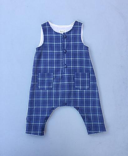 Blue&green baby tartan overalls/ Jardineiras escocês azul e verde