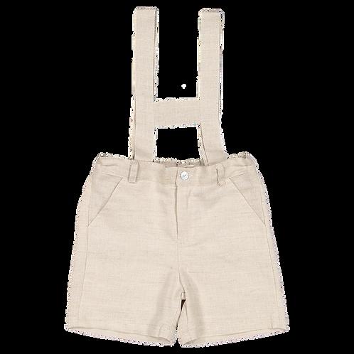 Beige linen shorts with straps /Calções de linho beges com peitilho
