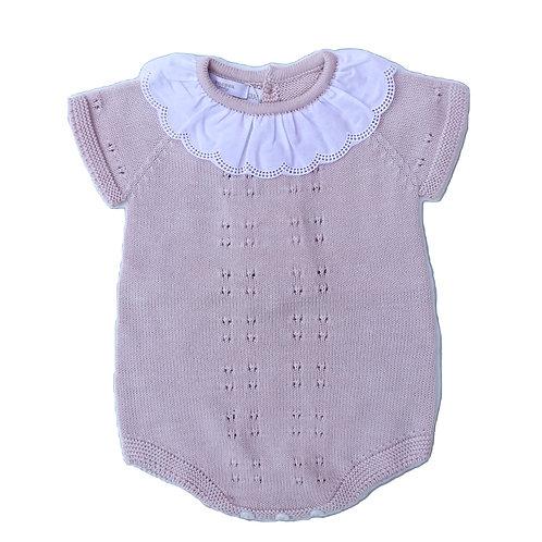 Old Pink cotton romper embroidery Colar / Fofo malha cr velho boradado
