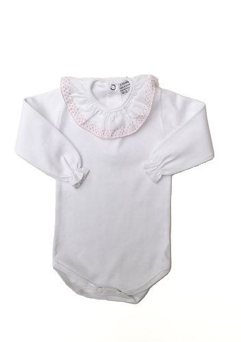 Body with pink frill long sleeve / Bodie com folho cr manga comprida