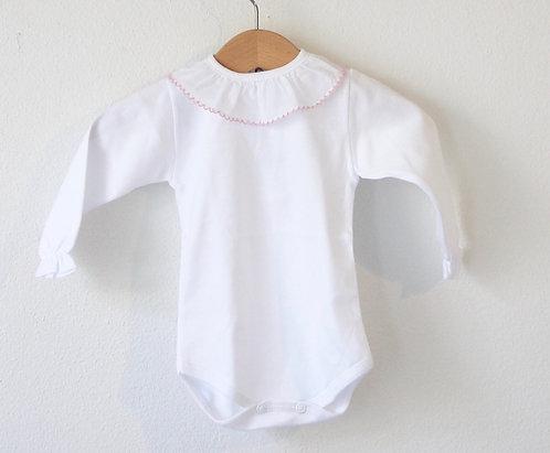 Body long sleeve with pink frill/ Bodie branco manga comprida com folho cr