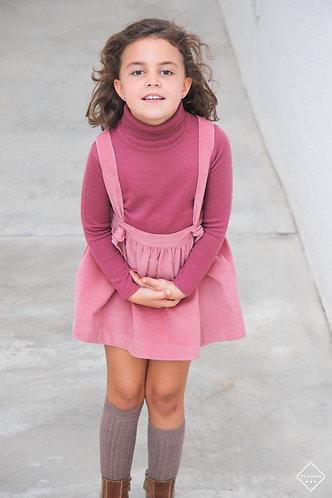 Pink skirt with straps / Saia cor de rosa com peitilho