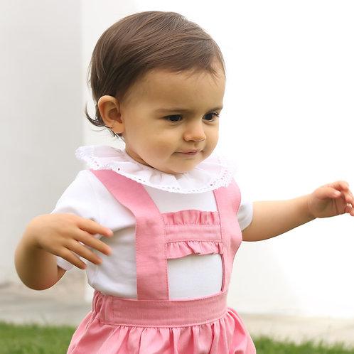 Pink baby romper with frills/ Fofo cor de rosa com folho