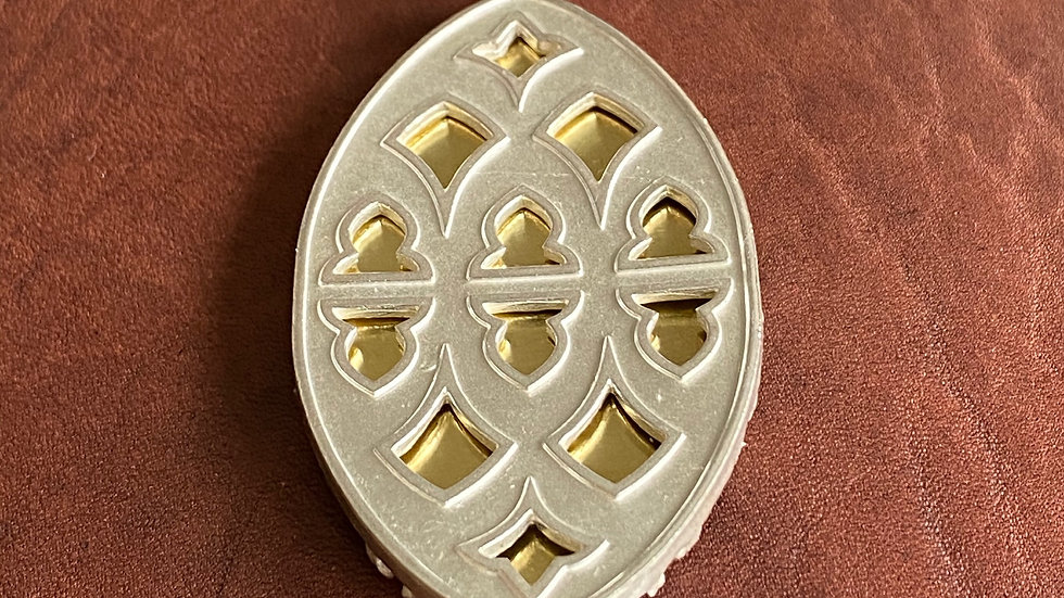 Strawberry Hill pendant: sterling silver with brass inlay