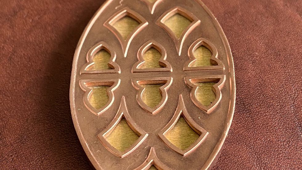 Strawberry Hill pendant: copper with brass inlay