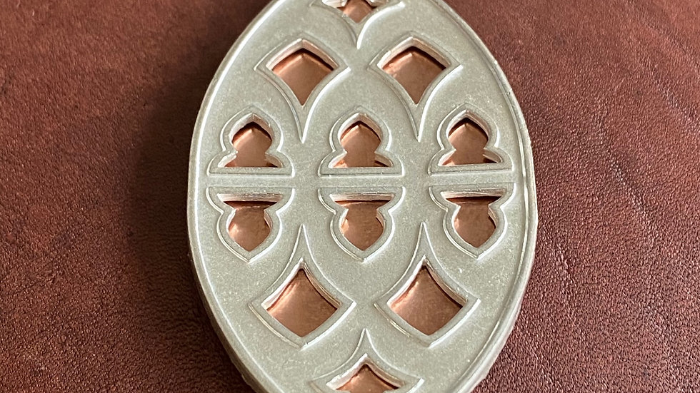 Strawberry Hill pendant: sterling silver with copper inlay