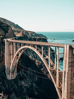 A bridge over the cliffs along the ocean